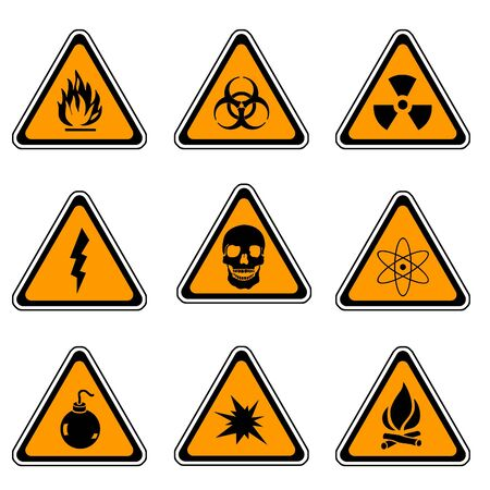 Warning Sign Compilation Set - Various Symbols On Triangle Sign Stock Photo - 3597180