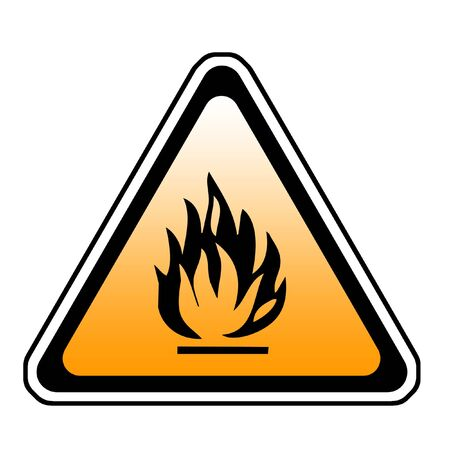 Triangle Fire Warning Sign - Symbol, White Background Stock Photo - 3597178