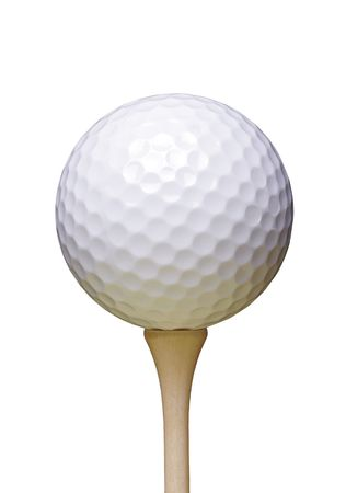 Golf Ball On Wooden Tee, White Background