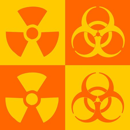 fallout: Warning Sign Of Radiation And Biohazard, Dual Colour Stock Photo