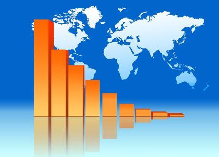 negativity: Decreasing Bar Chart - Business Data Graph With World Map
