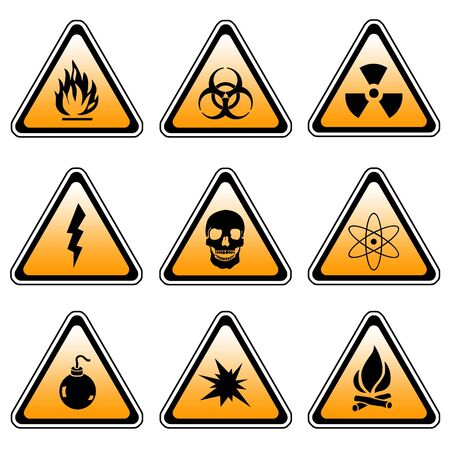 Warning Sign Compilation Set - Various Symbols On Triangle Sign Stock Photo - 3630932