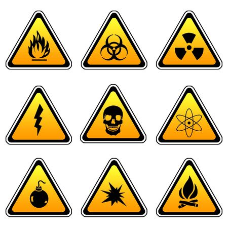 Warning Sign Compilation Set - Various Symbols On Triangle Sign Stock Photo - 3630943