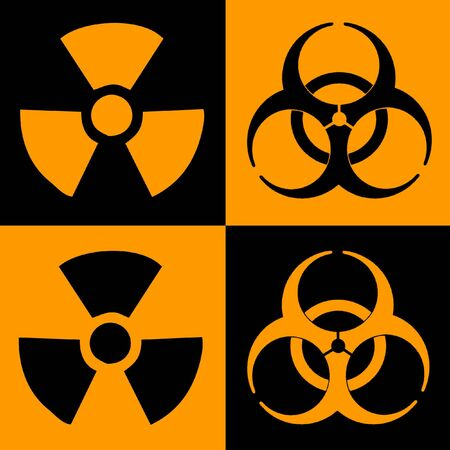 Warning Sign Of Radiation And Biohazard, Dual Colour Stock Photo - 3630940
