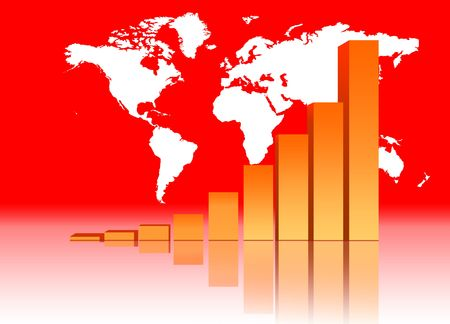 Increasing Bar Chart - Business Data Graph With World Map Stock Photo - 3630942