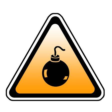 Bomb Warning Sign, Orange Triangle Symbol, White Background Stock Photo - 3638995