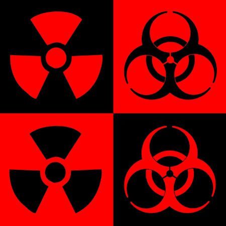 Warning Sign Of Radiation And Biohazard, Dual Colour Stock Photo - 3649471