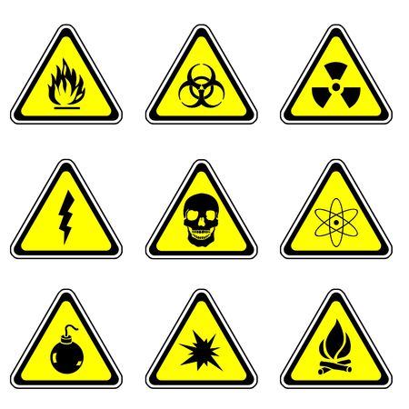 Warning Sign Compilation Set - Various Symbols On Triangle Sign Stock Photo - 3660170