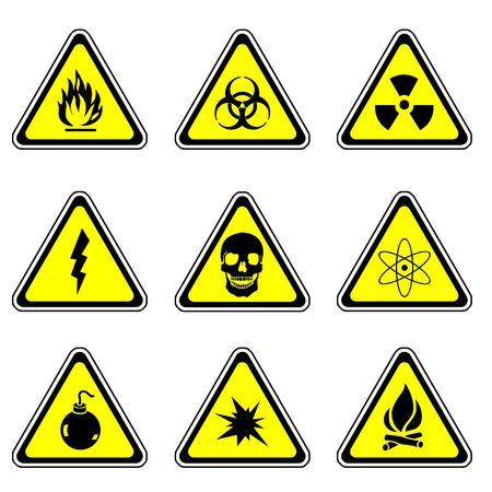 radioactive sign: Warning Sign Compilation Set - Various Symbols On Triangle Sign Stock Photo