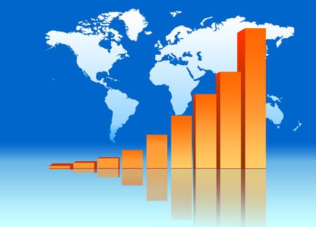 increasing: Increasing Bar Chart - Business Data Graph With World Map Stock Photo