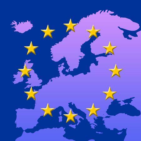 Continent Of Europe Map With EU Stars (3D edges), Symbolic Illustration of European Union Stock Illustration - 3669382