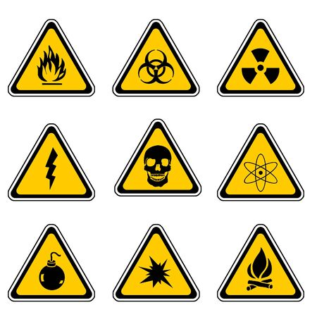 Warning Sign Compilation Set - Various Symbols On Triangle Sign Stock Photo - 3669386