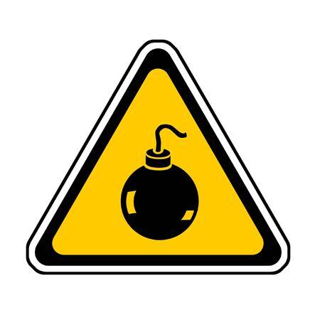 Bomb Warning Sign, Orange Triangle Symbol, White Background Stock Photo - 3672716