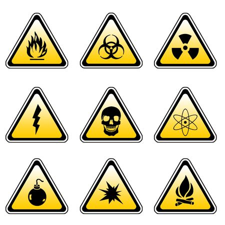 compilation: Warning Sign Compilation Set - Various Symbols On Triangle Sign Stock Photo