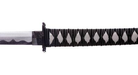wakizashi: Sword Grip - Close-Up Of A Japanese Katana On White Background