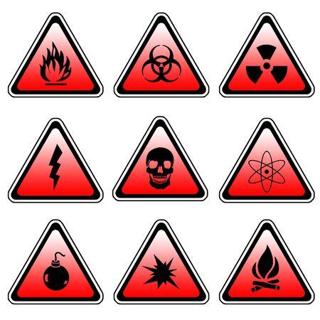 Warning Sign Compilation Set - Various Symbols On Triangle Sign photo