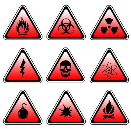 Warning Sign Compilation Set - Various Symbols On Triangle Sign photo