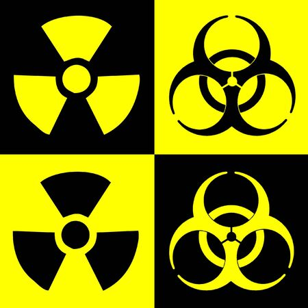 dual: Warning Sign Of Radiation And Biohazard, Dual Colour Stock Photo