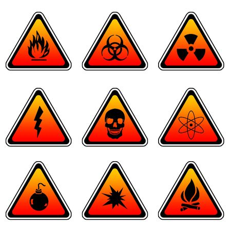 Warning Sign Compilation Set - Various Symbols On Triangle Sign Stock Photo - 3762414
