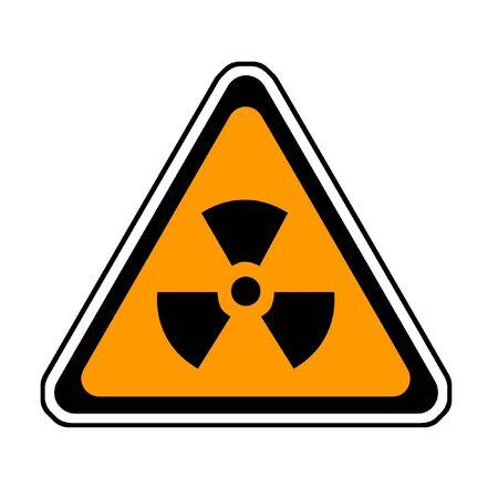 Radiation Warning Sign, Radio-Active Symbol, White Background photo