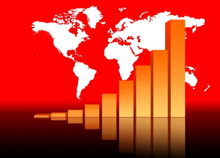 Increasing Bar Chart - Business Data Graph With World Map Stock Photo - 3800607