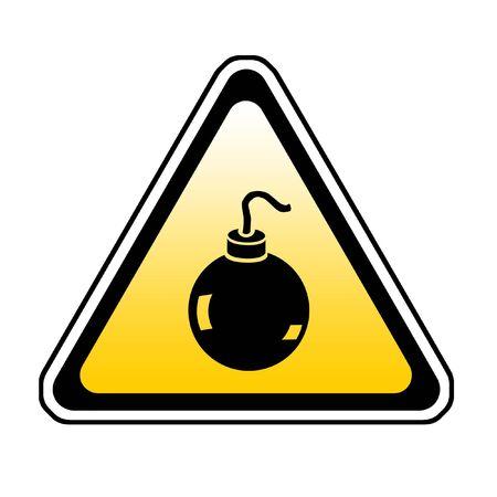 Bomb Warning Sign, Orange Triangle Symbol, White Background Stock Photo - 3837549