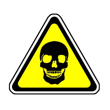 poison sign: Death Warning Sign - Skull Symbol, White Background