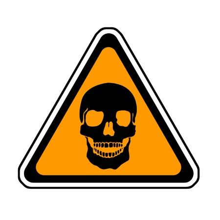 Se�al de advertencia de muerte - S�mbolo Calavera, fondo blanco Foto de archivo - 4288702