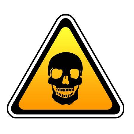 Se�al de advertencia de muerte - S�mbolo Calavera, fondo blanco Foto de archivo - 4703705