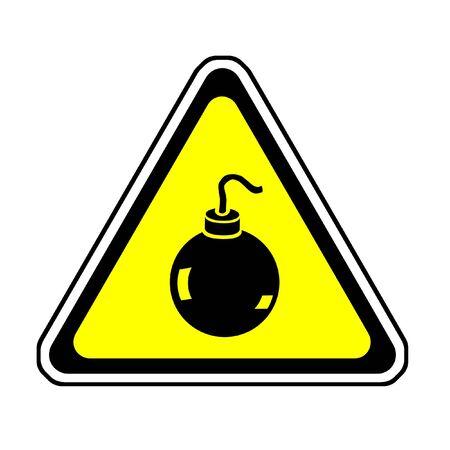 explosion hazard: Bomb Warning Sign, Orange Triangle Symbol, White Background Stock Photo