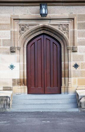 neogothic: Old Wooden Door, Entrance To An Neogothic Building
