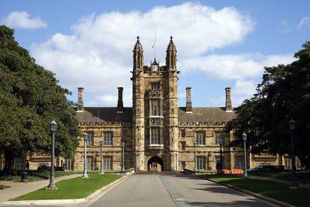 neogothic: Old Neogothic Sandstone Brick Building, Sydney Uni  University, Australia