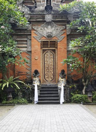 Entrance To Old Bali Stone Temple In Indonesia Stock Photo