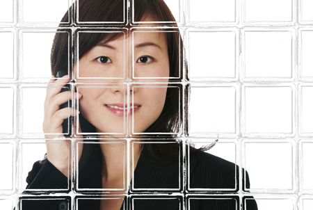 Asian  Chinese Business Woman With Mobile Phone Behind Grunge Window Frame