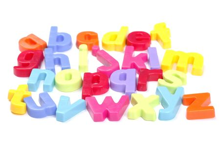 Alphabet, Colourful Fridge Magnet Set of Letters,  Perspective, Focus On Front Row Stock Photo - 5188421