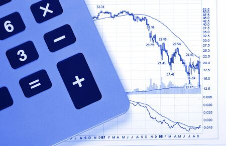 Business Chart - Crash, Decreasing Graph, Calculator, Blue Toning