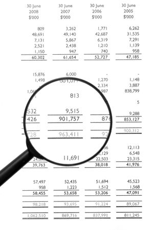 Magnifying Glass On Financial Balance Sheet, Business  Finance, Background, Black&White