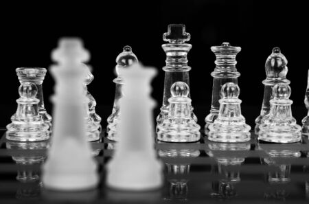 Chess King and Queen, Focus On Back Row, Black & White