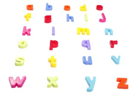 Alphabet, Colourful Fridge Magnet Set of Letters,  Perspective, Focus On Front Row