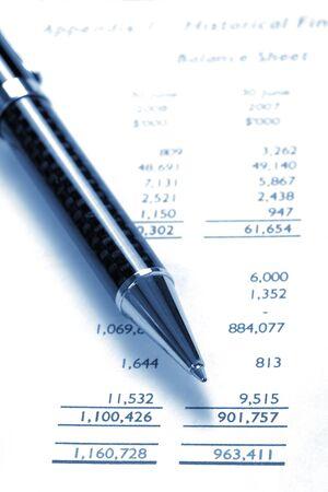 Black Pen On Financial Balance Sheet, Business  Finance, Background, Blue Tone