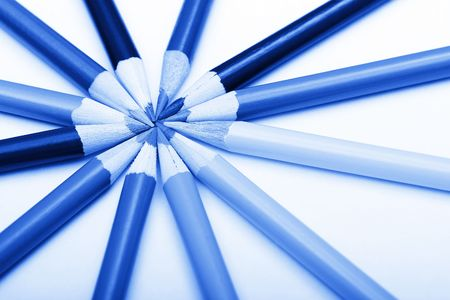 Various Pencils In Round Shape, Blue Toning Stock Photo