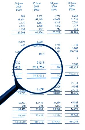 Magnifying Glass On Financial Balance Sheet, Business  Finance, Background, Blue Tone