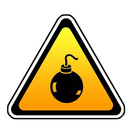 Bomb Warning Sign, Orange Triangle Symbol, White Background Stock Photo