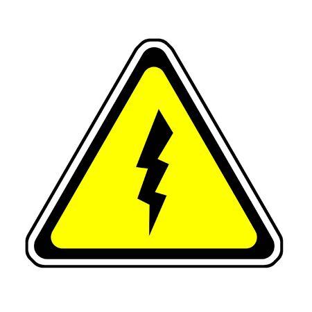 Flash Warning Sign - Lightning Symbol, White Background