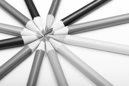 Various Pencils In Round Shape, Black And White