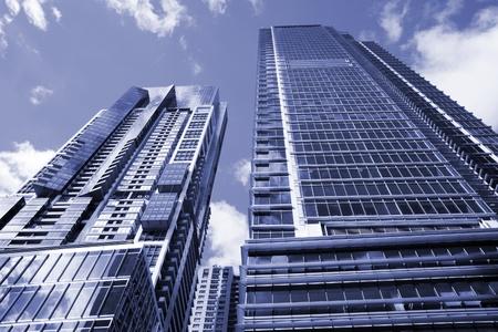 sydney  australia: Tall High Rise Urban Office Building In Sydney, Australia - Soft Blue Toning