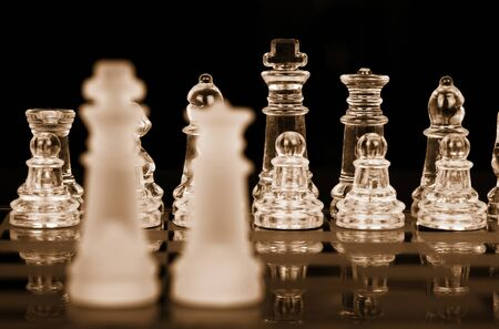 Chess King and Queen, Focus On Back Row, Sepia
