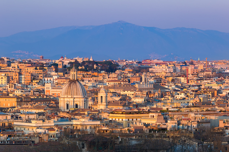 Cityscape of Rome, Italy, at sunset in autumn, a view from the Gianicolo Janiculum hill