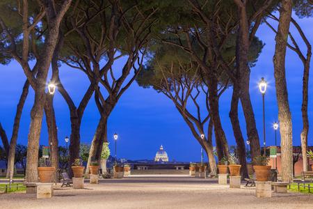 Giardino degli Aranci in Rome at sunset, Italy