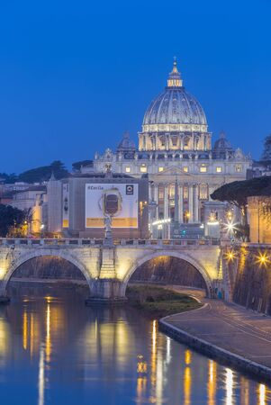 st: Night view of the Basilica St Peter in Rome, Italy